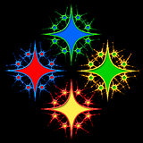 Abstract color pattern of stylized asterisks.
