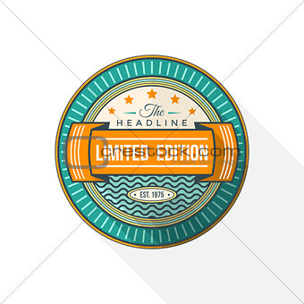 abstract colored flat style green orange vector badge label