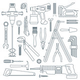 dark outline various house remodel instruments set