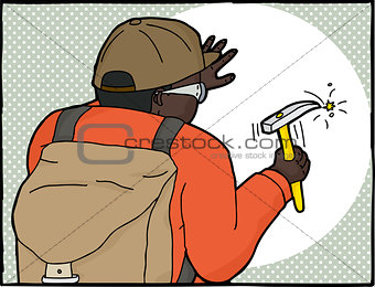 Frame of Geologist Using Hammer