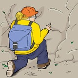 Female Hiker Points at Rock