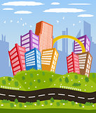 Cartoon downtown road landscape