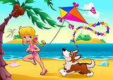 Funny scene with girl and dog on the beach