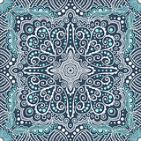 vector seamless blue pattern of spirals, swirls, chains