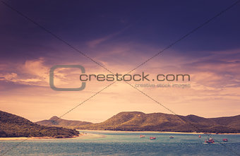 Green island and sea nature landscape vintage