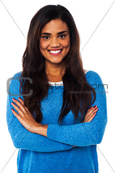 Casual portrait of smiling young female model