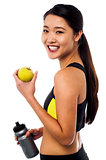 Eat healthy, stay fit. Smiling chinese girl