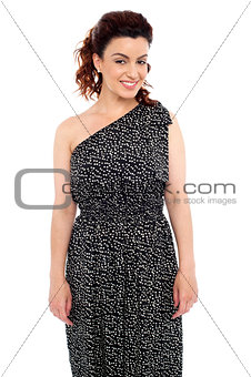 Charming lady posing in new party dress