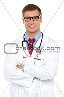 Attractive portrait of confident male doctor