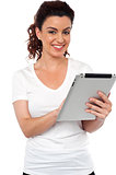 Pretty woman using tablet device