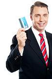 Business representative showing credit card