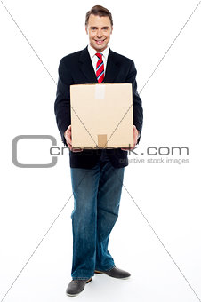 Business representative holding cardboard box