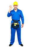 Keep up the good work. Repairman gesturing