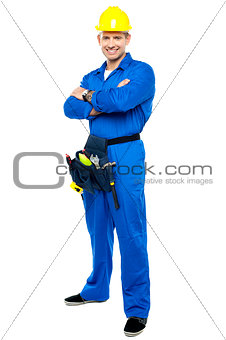 Portrait of confident smart construction worker