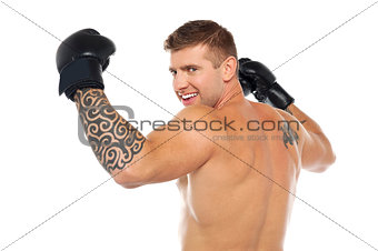 Portrait of male winner boxer, champion