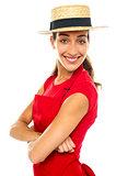 Charming confident baker woman posing casually