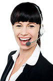 Close up portrait of customer service operator