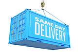 Same Day Delivery - Blue Hanging Cargo Container.