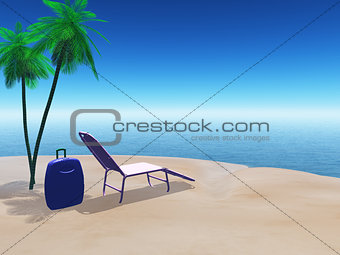 Beach scene with suitcase and sun lounger