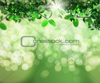 3D background of leaves on bokeh light background