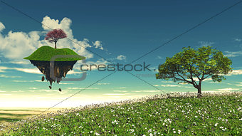 Floating island with tree landscape