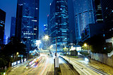 Central district at night, Hong Kong