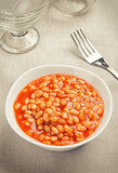 Bowl of baked beans in tomato sauce