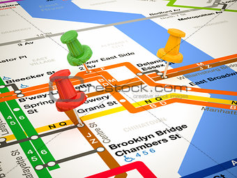 3d pins and subway map