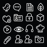 Website menu navigation white line icons on black - social media, blog, web page