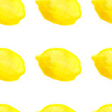 Watercolor hand drawn lemons seamless pattern.