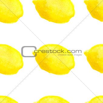 Watercolor hand drawn lemons seamless pattern.