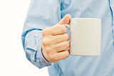 Businessman with white coffee cup