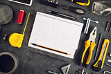 Assorted Do It Yourself Tools and Notebook