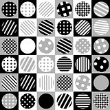 Geometric background with dotted and striped circles
