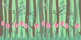 Seamless horizontal pattern with tulips and trees
