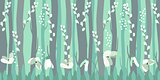 Seamless horizontal pattern with snowdrops