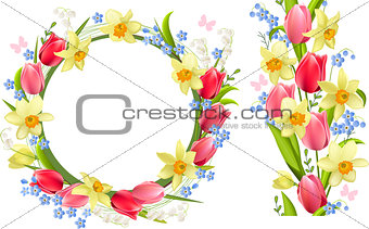 Frame and seamless border with spring flowers