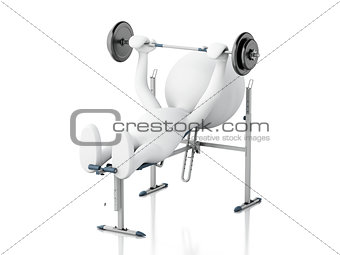 3d white people lifting heavy weights. gym concept