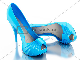 3d High heel shoes on white background