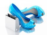 women high heel shoes with Shopping bag 3d.
