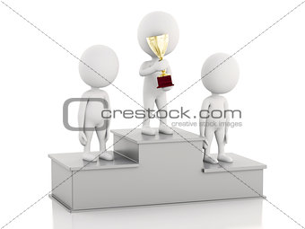3d white people Winner on sports podium  with trophies.