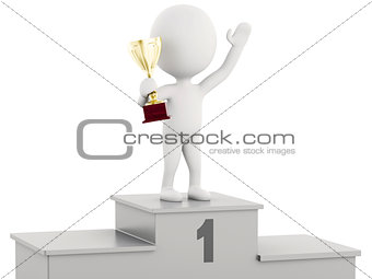 3d white people Winner on sports podium  with trophy.