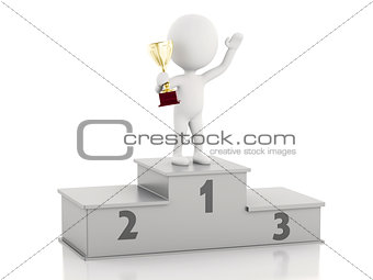 3d white people Winner on sports podium  with trophy