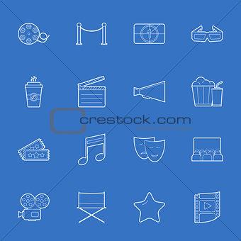 Cinema thin lines icons set