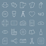 Photo equipment end editing thin lines icons set