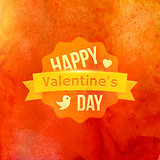 Watercolor Happy Valentines Day Typography Vector Background.