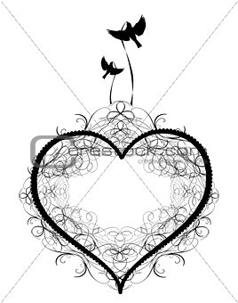 Antique ornament Vectors of a heart with birds