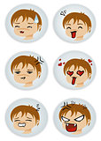 badges with manga faces