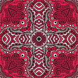 vector seamless red pattern of spirals, swirls, chains