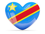 Heart shaped icon with flag of the congo